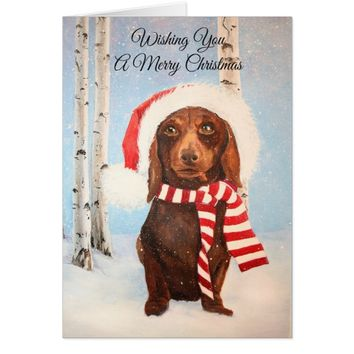 Santa Dachshund Dog Christmas Greeting Card