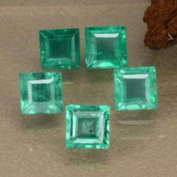 1.76 ct (total) Square Step-Cut Green Emerald 3.8 x 3.8 mm