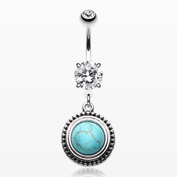 Opulent Blue Moon Turquoise Belly Button Ring