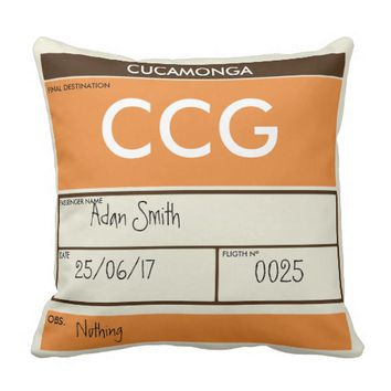 OLD FLIGHT TICKET THROW PILLOW