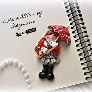 Polymer clay jewelry - brooch - Umbrella brooch - funny girl - Autumn jewelry - red - gift for her - women's jewelry - polymer clay brooch