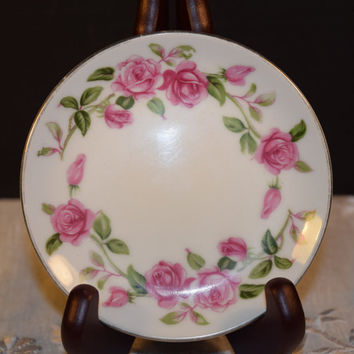Ancestral Rambler Coaster Vintage Rambler Pink Roses Plate Coaster Discontinued China Replacement Holiday Dinnerware Shabby Chic Dishes