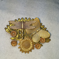 3D Butterfly Dragonfly and Flowers Gold Tone Fan Brooch / Pin