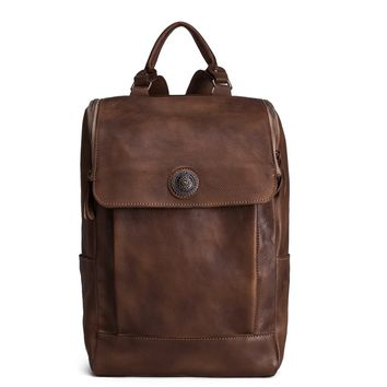 BLUESEBE HANDMADE VINTAGE BROWN VEGETABLE TANNED LEATHER BACKPACK 9026-VB