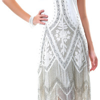 Unique Vintage Cream & Platinum Embroidered Somerset Flapper Dress