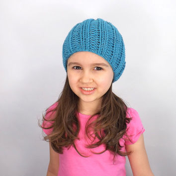 SALE Classic Knit Kids Beanie /AQUAMARINE/, Unisex Kids Beanie Hat, Boys Beanie, Girls Beanie, Children Toque, Gift Idea