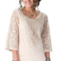 Flying Tomato® Women's Cream Lace and Crochet 3/4 Sleeve Shift Dress
