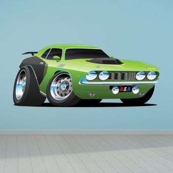 Challenger Muscle Car Cartoon 5 Wall Decal