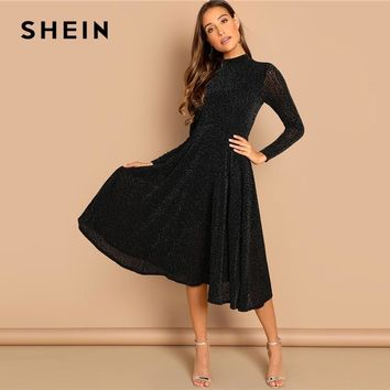 SHEIN Black Sheer Sleeve Glitter Dress Elegant Plain Stand Collar Long Sleeve Dresses Women Modern Lady Party Dress
