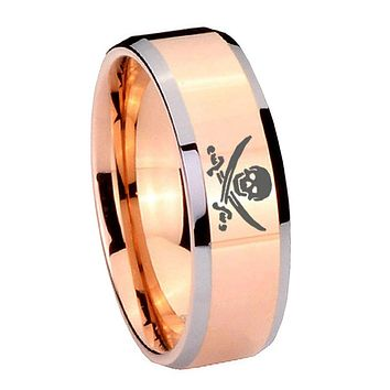 8MM Rose Gold Skull Pirate Bevel Edges 2 Tone Tungsten laser Engraved Ring