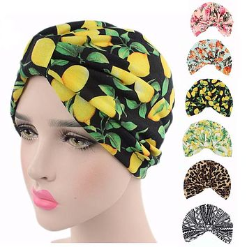 New Bohemian vintage stretchy Cotton floral fruit print Turban Hat Headband Wrap Chemo Bandana Hijab knotted  Indian cap