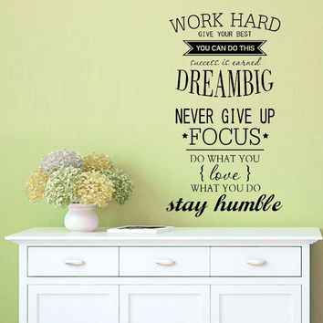4055 WORK HARD Free Shipping motivation wall decals office room decor Never Give Up  DREAM BIG Inspirational Quote wall stickers