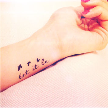 2pcs Let it be tiny birds silhouette quote tattoo - InknArt Temporary Tattoo - wrist quote body sticker fake tattoo anchor love tattoo small