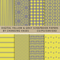 Digital Scrapbook Paper Pack Yellow and Gray, Geometric Stripes Aztec Chevron Pattern, Texture, Clipart Clip Art, Photo Background