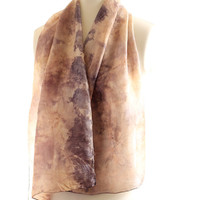 Autumn leaves eco print silk scarf naturally dyed shawl botanical print, iron solution dyed, valentines gift for her, eco dyed scarf