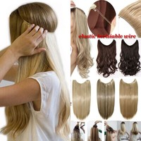 """20""""/24""""Curly Straight Secret Wire No Clip Hair Extensions Natural Hidden Wire Synthetic Hairpieces adjustable transparent Wire"""