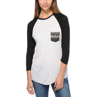 Empyre Girls Indira Feather Pocket White Baseball Tee Shirt at Zumiez : PDP