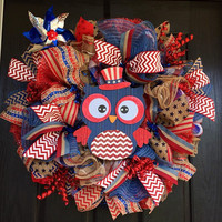 Fourth of July deco mesh wreath, 4th of July deco mesh wreath,   4th of July burlap wreath, Summer mesh wreath, Independence Day mesh wreath