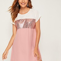 Cut-and-Sew Sequin Panel Dress