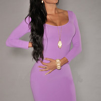 Purple Long Sleeves Scoop Neck Bodycon Mini Dress