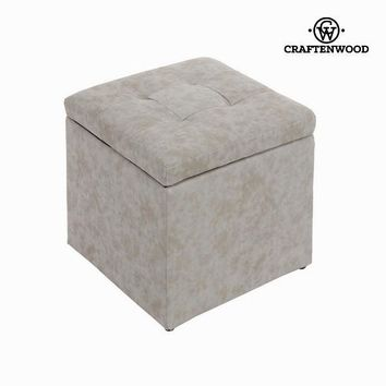 Square grey pouf by Craften Wood