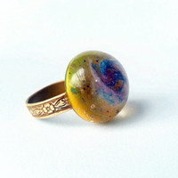 Yellow Galaxy Ring, Galaxy Jewelry, Space Ring, Sunshine Ring, Blue Galaxy Ring, Outer Space Jewelry, Handmade Galaxy Ring, Universe Jewelry