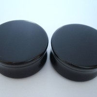Black Agate Stone Plugs (10 gauge - 1 inch)