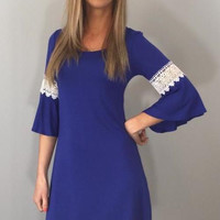 Kimono Sleeve Blue Mini Dress