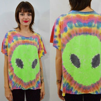 Alien Shirt Tie Dye Large XL Neon Hippie Soft Grunge Hipster Womens Handmade Clothing Funky UFO Psychedelic One of a Kind