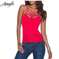 Awaytr Woman Spaghetti Strap Tank Top Sexy Summer Sleeveless Criss Cross Tops 2016 Casual T-shirts for Women Plus Size Camis XXL
