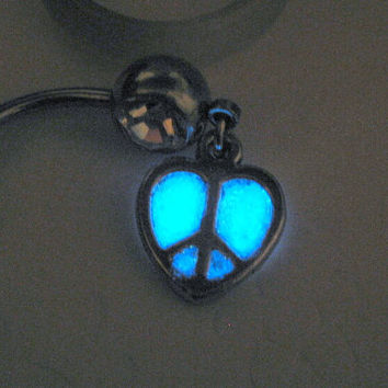 Glow in the Dark Belly Ring Peace Sign Belly Button Jewelry Glow Piercing Glowing Body Jewelry Silver Heart Glow Rave Jewelry Hippie Jewelry