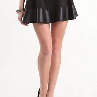 Nollie Faux Leather Trim Swing Skirt at PacSun.com