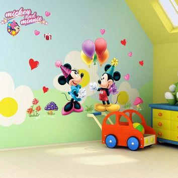 Cartoon Minnie Mickey mouse Switch Wall Stickers Nursery Kids Living Room Bedroom Home wedding Decoration 3d pvc Wall Decals
