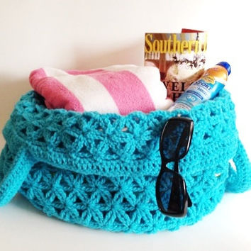 Turquoise Aqua Crochet Pool Bag Farmers Market Tote Large Beach or Grocery Bag Reusable