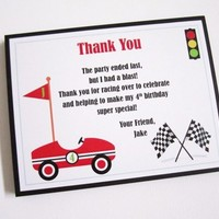 Race Car Thank You Cards for Boys Birthday Party