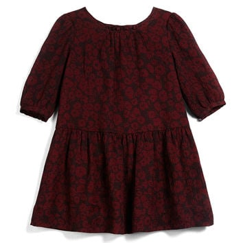 Tais Leopard-Print Silk Dress, Claret, Size 4-14,