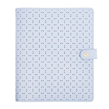PERFORATED LEATHER PERSONAL PLANNER LARGE: ICE BLUE