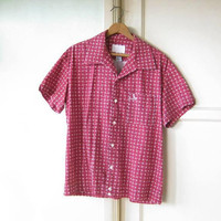 Fly Vintage Brick Red Crosshatch Print Sport Shirt; Men's Large Short-Sleeve Wise Guy/Mad Men Cotton Weekend Button-Up by Diesel
