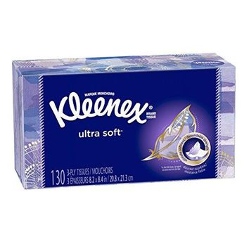 Kleenex Ultra Soft & Strong Facial Tissues, 130 Tissues per Flat Box, 8 Pack