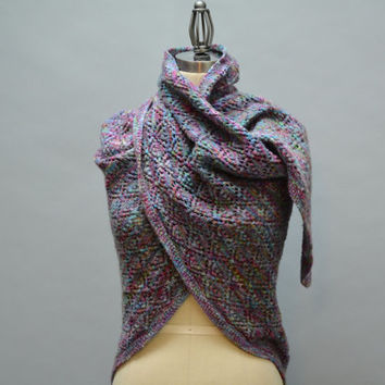 Wool Knitted Lace Wrap - Vintage Handmade Knit Lace Triangle Scarf Shawl in Purple Green Blue Variegated Soft Merino Wool