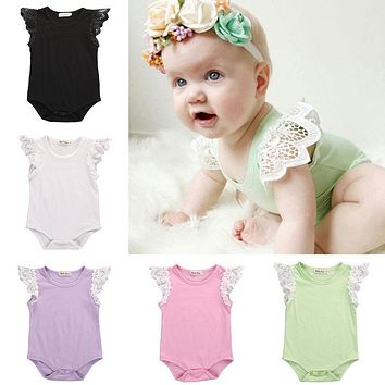 Spring AutumnTirred Cotton Cute Rompers Infant Baby Girl Clothes Lace Floral Ruffles Baby Girl Romper Cake Sunsuit Outfits 0-18M