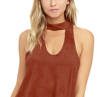Sweet Music Rust Red Suede Crop Top