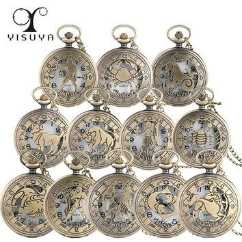 Vintage Zodiac Pattern Pocket Watch Modern Necklace Chain Copper Retro Style Twelve Constellations Men Women Clock Relogio Gift