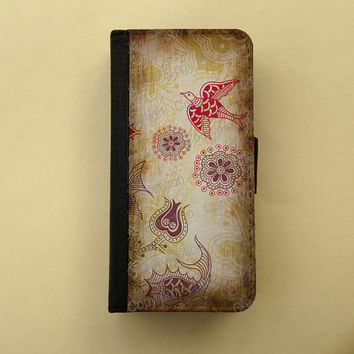 iPhone 4 5 flip case Samsung Galaxy S3 S4 leather wallet, flower iPhone wallet, book style, Samsung iPhone 5 - Vintage floral pattern