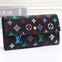LV Women Leather Zip Multicolor Wallet Purse
