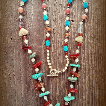Turquoise Necklace, Turquoise Nugget Necklace, Genuine Turquoise, Turquoise Jewelry, Southwest Jewelry, Boho Jewelry, Bohemian Jewelry