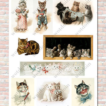 Kittens Cats Digital Collage Sheet Cats as People Dressed Up Printable Image Clip Art Vintage Style