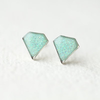 Mint Diamond Shape Shimmering Stud Earrings - Geometric jewelry