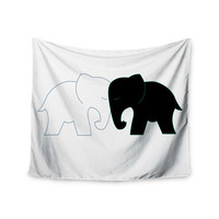 "NL Designs ""Black And White Elephant Love"" Abstract Animals Wall Tapestry"