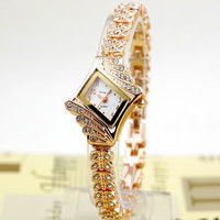 Women's Alloy Crystal Quartz Rhombus Bangle Wrist Watch 15284 = 1946577476